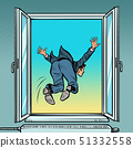 Bankruptcy and financial crisis. Suicide businessman jumps out the window 51332558