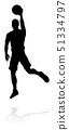 Basketball Player Silhouette 51334797