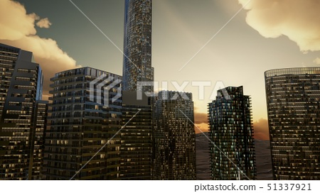 City Skyscrapers at Sunset in Desert 51337921