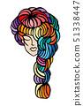 illustration of women long hair style icon, logo women face on white background, vector 51338447
