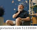 Old bearded man with alzheimer desease 51339084