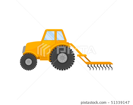 Yellow tractor with a closed cab and a plow. Vector illustration on white background. 51339147