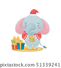 Humanized cute baby elephant holding a gift in his hands. Vector illustration on white background. 51339241