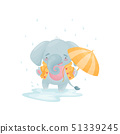 Humanized cute baby elephant in a yellow jacket is jumping in a puddle. Vector illustration on white 51339245