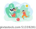 Cartoon Children Boy Girl Jump Play Toy Ball Park 51339281