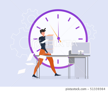 Cartoon Man with Paper Sheet Stack Office Table 51339364
