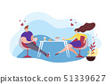 Cartoon Man Woman Sit Table Eating Asian Food 51339627