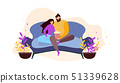 Cartoon Couple Home Rest on Couch Watching Movie 51339628