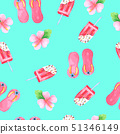 Summer Seamless Pattern Hand painted in watercolor 51346149