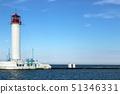Lighthouse against the blue sky and sea 51346331
