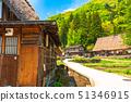 """""""จังหวัดโทยามะ"""" หมู่บ้าน Ainokura Gassho ฤดูสีเขียวสด 51346915"""