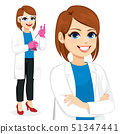Female scientist with glasses and gloves working 51347441