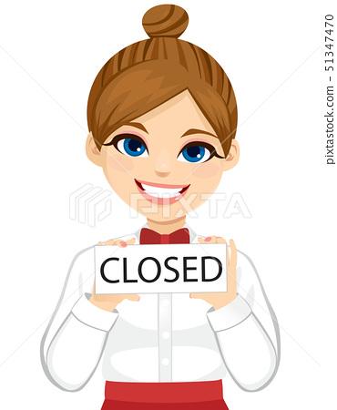 Closed sign board barista waitress 51347470