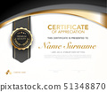 diploma certificate template black and gold color. 51348870