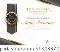 diploma certificate template black and gold color. 51348874