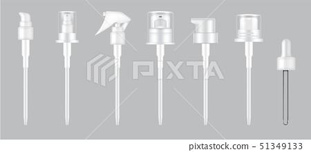 3D Mock up Realistic Pump, dropper and Spray Cap 51349133
