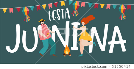 Festa junina, Sao Joao holiday. Brazilian june party greeting card, web banner. Man and woman 51350414