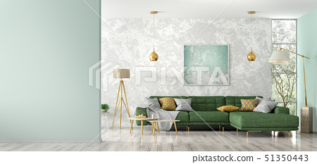 Interior of living room with green sofa 3d 51350443