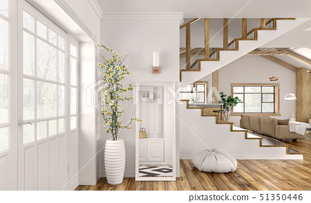 Interior of modern hall in house 3d rendering 51350446