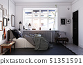 scandinavian style bedroom interior. 51351591
