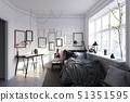 scandinavian style bedroom interior. 51351595