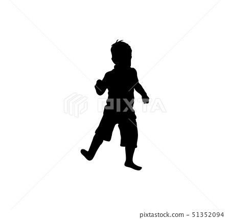 Isolated icon of black silhouette of dancing child 51352094