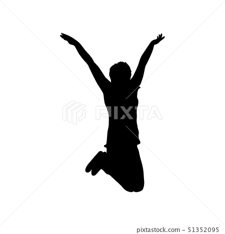 Icon black silhouette of jumping woman on white 51352095