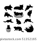 Set of silhouette of cats. On white background. 51352165
