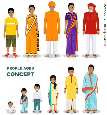 East people generations at different ages isolated on white background in flat style. Indian man and 51353328