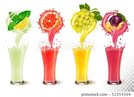 Set of fruit juice splash in a glasses. Mint and 51354504