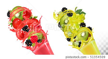 Fruit in juice splashes. Strawberry, blackberry, 51354509