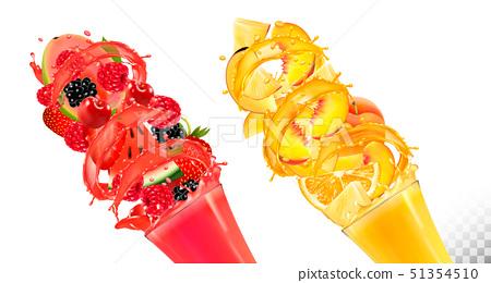 Set of fruit juice splash in glasses. Strawberry,  51354510