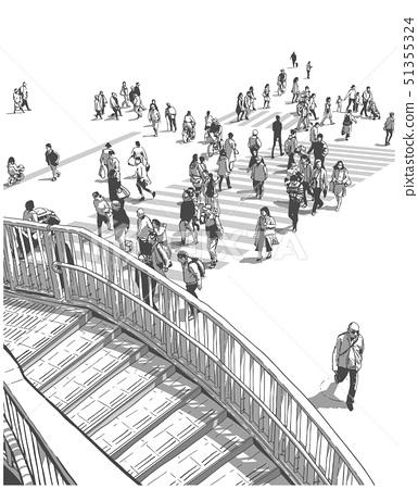 Japanese city street with people crossing zebra 51355324