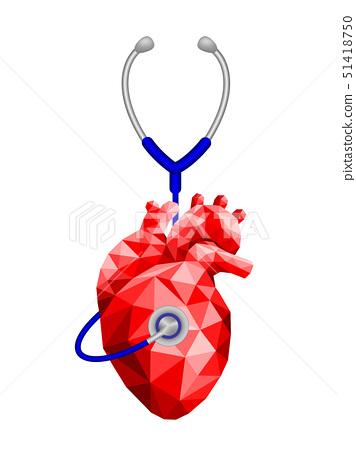 stethoscope on human heart.  51418750