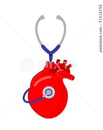Stethoscope in human heart shape.  51418756