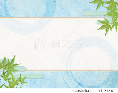 일본식 모던 - 파랑 단풍 - 하늘색 - 배경 소재 - 여름 - 엔 - 쿨 51436481