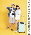 Full length of Asian Couple with travel luggage 51475761