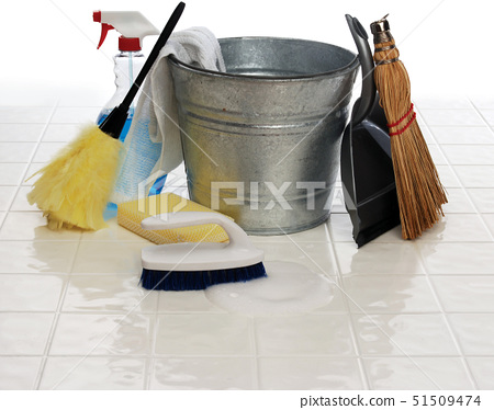 cleaning supplies: spray bottle, broom, duster, wash cloth, scrub brush, bucket, dust pan on white t 51509474