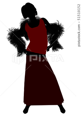 1920's female silhouette on a white background 51510152