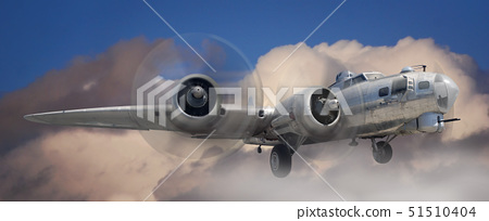 Fish eye view of a B-17 Stratofortress airplane in the clouds 51510404