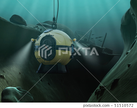 Diving bell descending into an underwater abyss 51510572
