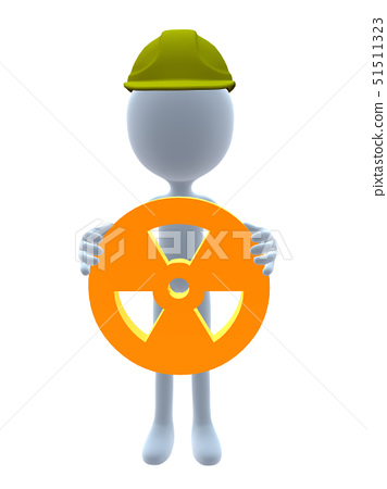 3D hardhat guy holding a 3d hazard sign on a white background 51511323