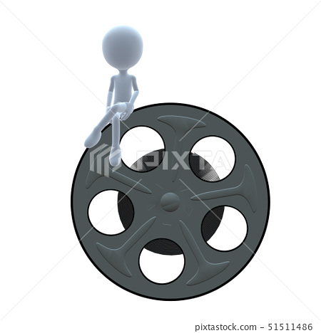 3D guy with a movie reel on a white background 51511486