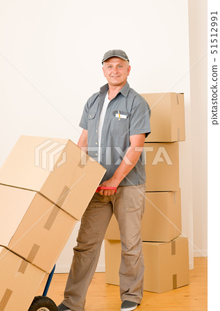 Friendly messenger or mover delivering parcel boxes on hand truck 51512991