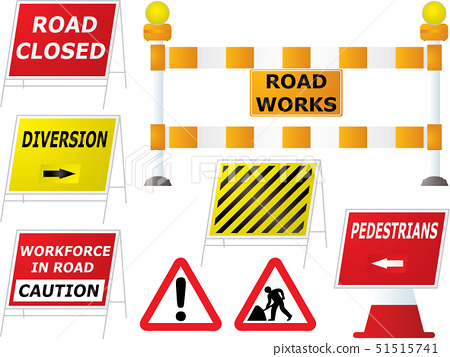 Illustrated road works signs in different variations as part of a set 51515741