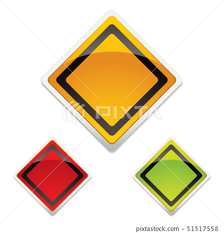 Collection of three road warning signs with modern light reflection 51517558