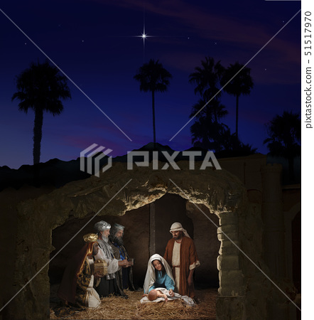 Christmas Nativity with Mary, Joseph, the Three Wise Men and baby Jesus 51517970