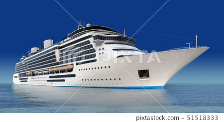 luxury white cruise ship shot at angle at water level on a clear day with calm seas and blue sky 51518333