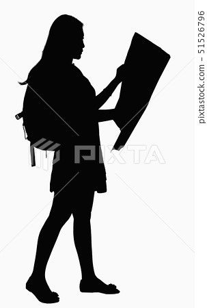 Silhouette of woman looking at map. 51526796