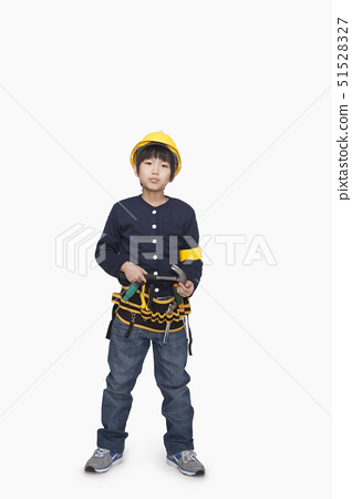 Boy dressed up as constructor 51528327